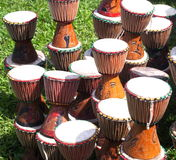 Djembes On Grass Royalty Free Stock Photo