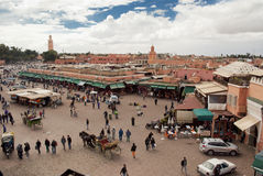Djemma el fna Square in Marrakech (Morocco) Stock Image