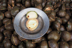 Djenkol bobowa owoc w miejscowego Tajlandia rynku, Archidendron jiringa ziarno, Djenkol fasola, Djenkol owoc Obraz Royalty Free