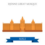 Djenne Great Mosque in Farmantala in Mali vector i. Djenne Great Mosque in Farmantala in Mali. Flat cartoon style historic sight showplace attraction web site Royalty Free Stock Images