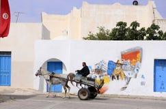 Man on Old Wagon with Colorful Graffiti Art, Djerba, Travel Tunisia Stock Photography