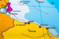 Djerba Tunezja mapa Zdjęcia Royalty Free