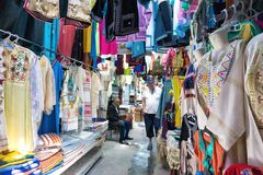 Traditional Clothing  for Sale in Market in Houmt El Souk in Djerba, Tunisia stock image