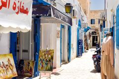 Traditional Shops in Medina Market in Houmt El Souk in Djerba, Tunisia royalty free stock photos