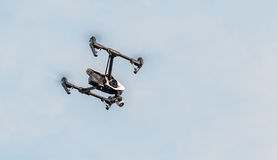 Dji Inspire 1 Flying. Zrenjanin, SERBIA: October 2015, Image of the Dji Inspire 1 drone UAV quadcopter which shoots 4k video and 12mp still images and is stock photo