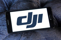 Dji logo. Logo of dji company on samsung mobile. DJI is the leading company in the civilian drone industry stock photos
