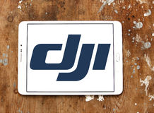 Dji logo. Logo of dji company on samsung tablet. DJI is the leading company in the civilian drone industry Royalty Free Stock Images