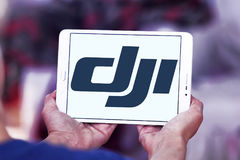 Dji logo. Logo of dji company on samsung tablet. DJI is the leading company in the civilian drone industry Stock Photo