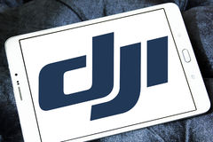 Dji logo. Logo of dji company on samsung tablet. DJI is the leading company in the civilian drone industry Stock Photography