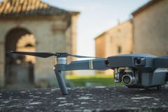 DJI Mavic Pro drone: Fano, Marche, Italia 03/05/2018. Closeup,on historical background. One of the most portable drones in the market,with 4k ultra hd royalty free stock photos