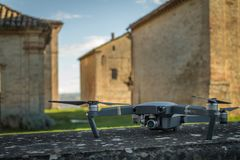 DJI Mavic Pro drone: Fano, Marche, Italia 03/05/2018. Closeup,on historical background. One of the most portable drones in the market,with 4k ultra hd stock image
