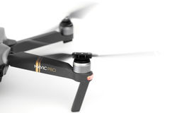 DJI Mavic Pro drone in flight, on white background. stock photos