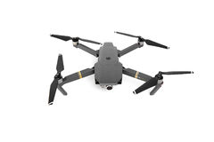 DJI Mavic Pro drone in flight, on white background. One of the most portable drones in the market. Side view. View on the drones gimbal and camera. 11.07.201 stock images