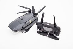 DJI Mavic Pro drone: ISRAEL, OCTOBER 2, 2017. Closeup, on white background. One of the most portable drones in the market royalty free stock photography