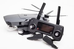 DJI Mavic Pro drone: ISRAEL, OCTOBER 2, 2017. Closeup, on white background. One of the most portable drones in the market. With 4k ultra hd royalty free stock images