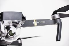 DJI Mavic Pro drone: ISRAEL, OCTOBER 2, 2017. Closeup, on white background. One of the most portable drones in the market. With 4k ultra hd royalty free stock photo