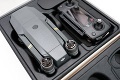 DJI Mavic Pro drone. KAUNAS, LITHUANIA - MARCH 1, 2017: Unboxing DJI Mavic Pro quadcopter. The Mavic is a new drone design by DJI, which is more portable than stock photography