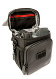 DJI Mavic Pro drone, remote control placed in the DJI Fly More Combo shoulder bag: Latvia JANUARY 20,2017. Closeup,white backgroun Royalty Free Stock Images
