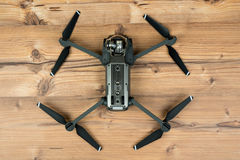 DJI Mavic Pro drone: Riga,Latvia DECEMBER 25,2016. Drone closeup,on wooden background. Royalty Free Stock Images