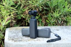 DJI Osmo Pocket Camera. Roquebrune-Cap-Martin, France - February 18, 2019: Close Up View DJI Osmo Pocket Gimbal Camera, The Smallest 3-Axis Stabilized Handheld stock image