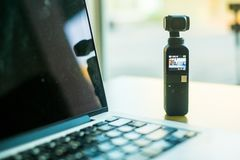 DJI OSMO POCKET. The small camera combine with gimbal can take VDO 4K 60fps and have many feature for photography and footage stock photos