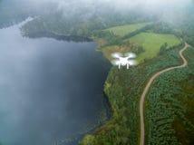 Dji phantom 3 from above. Sweden-September 23, 2017: Phantom 3 in mid air Royalty Free Stock Photo