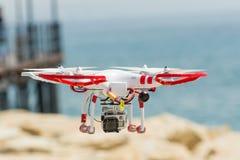 DJI Phantom drone. Dji phantom quadcopter drone with GoPro Hero 4 camera royalty free stock photos