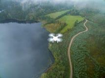Dji phantom 3. In flight, Sweden-September 23, 2017: Phantom 3 in mid air Royalty Free Stock Photos