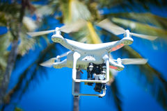 DJI Phantom 2 Quadcopter Drone in flight with GoPro camera Stock Photography