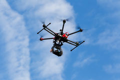 DJI S900 drone in flight with a mounted sony A7  Edition digital Royalty Free Stock Images