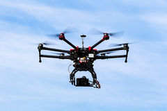 DJI S900 drone in flight with a mounted sony A7  Edition digital Royalty Free Stock Photography
