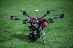 DJI S900 drone with mounted digital camera sony A7 Stock Images
