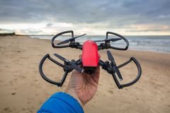 DJI Spark ready to fly at Baltic Sea Royalty Free Stock Photos