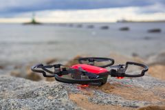 DJI Spark ready to fly at Baltic Sea Royalty Free Stock Photo