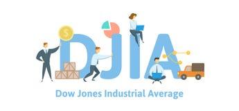 DJIA, media industrial de Dow Jones Concepto con palabras claves, letras e iconos Ejemplo plano del vector aislado encendido ilustración del vector