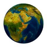 Djibouti a accentué sur le globe Photographie stock