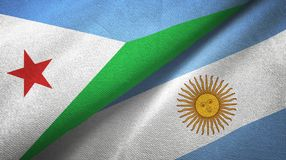 Djibouti and Argentina two flags textile cloth, fabric texture. Djibouti and Argentina flags together textile cloth, fabric texture royalty free illustration