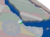 Djibouti avec le drapeau Photos libres de droits
