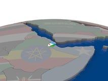 Djibouti avec le drapeau Photo libre de droits