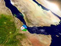 Djibouti avec le drapeau en Soleil Levant Photo libre de droits