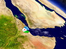 Djibouti avec le drapeau incorporé sur terre Images libres de droits