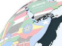 Djibouti avec le drapeau sur le globe illustration de vecteur