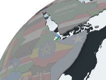 Djibouti avec le drapeau sur le globe illustration stock