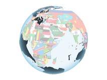 Djibouti avec le drapeau sur le globe d'isolement illustration de vecteur