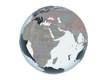 Djibouti avec le drapeau sur le globe d'isolement illustration stock