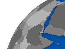 Djibouti avec le drapeau sur le globe politique Photos libres de droits
