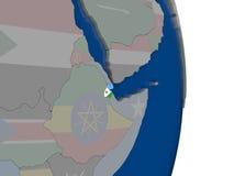 Djibouti avec son drapeau Image stock