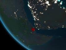 Djibouti bij nacht van baan Royalty-vrije Stock Foto's