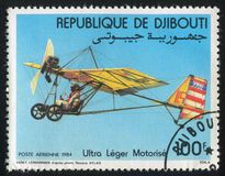 Motorized Hang Gliders. DJIBOUTI - CIRCA 1984: stamp printed by Djibouti, shows Motorized Hang Gliders, circa 1984 stock photos