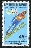 Ski jump. DJIBOUTI CIRCA 1988: stamp printed by Djibouti, shows Ski jump, 1988 Winter Olympics, circa 1988 Royalty Free Stock Image